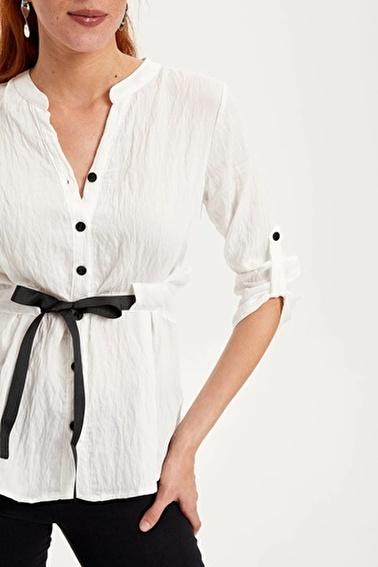 DeFacto Yakasız Beli Kemerli Gömlek Beyaz